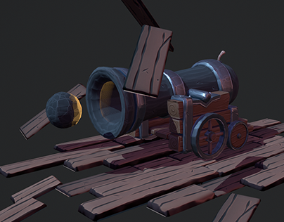 3D Stylized Cannon Scene