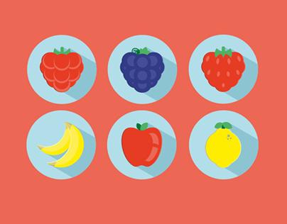 Flat Fruit Icons