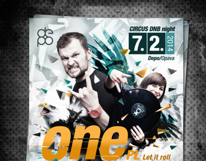 Poster with ONE WAY / circus DNB night