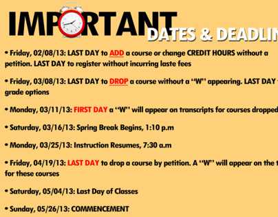 Important Dates Poster for Cornell CEE