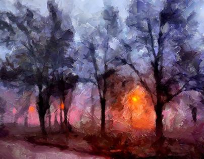Lanterns in the evening fog