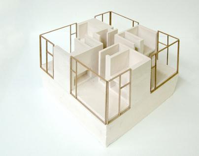 2 plaster models for NU architectuuratelier
