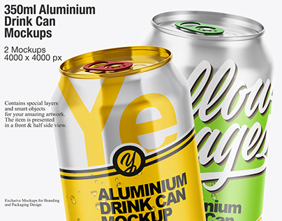 350ml Aluminium Drink Can Mockups