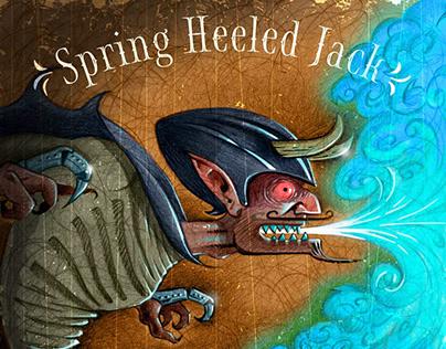 Horror art illustration of Spring Heeled Jack