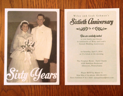 60th Wedding Anniversary Invitations On Behance
