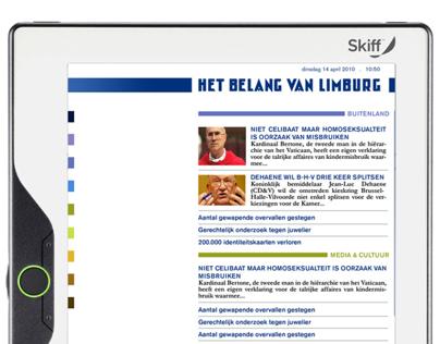 Digital newspaper design on an eReader