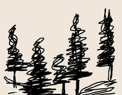 Monochrome Alpine Forest