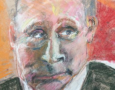"Vladimir Putin 18x24"" Pastel, Paper • Santa Monica '15"