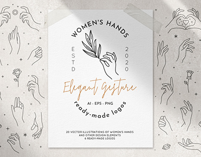 Collection of women's hands and ready-made logos