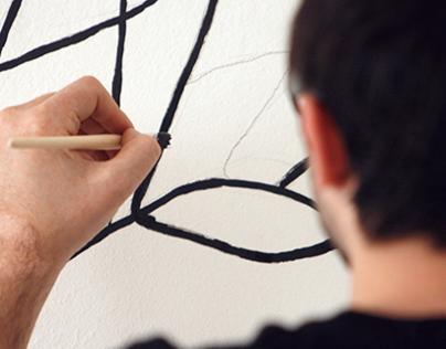 Abstract Line Art on Room wall