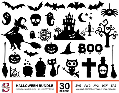 Halloween Bundle Svg, Halloween Silhouette Cut Files