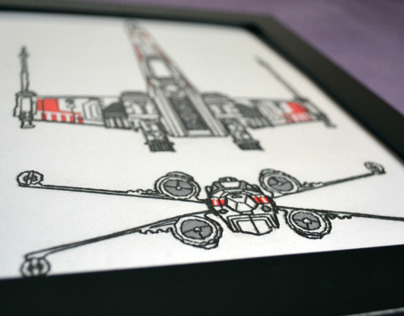 X-Wing Embroidery into paper