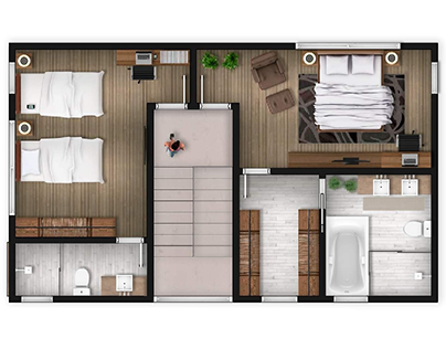 Sodnac Apartment 2D Floor Plan Illustration, MAURITIUS