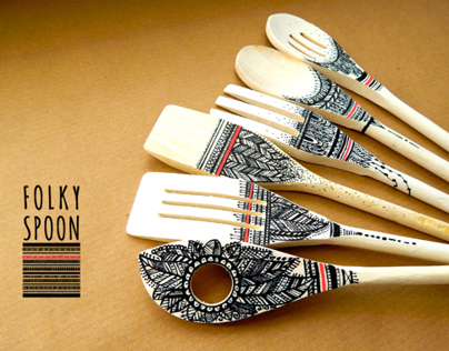 Folky spoon ~ wood spoons & hand painting art by ivvi