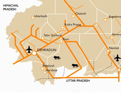 Schematic Map of Uttarakhand