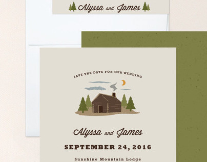 Log Cabin Save the Date