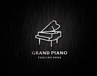 Grand piano logo design template design in line art