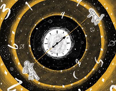 "Düşünbil Mag. Cover Illustration About ""Time"""