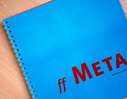 Specimen da família tipográfica Meta Plus