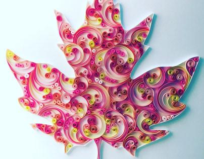 Maple leaf paper art on canvas
