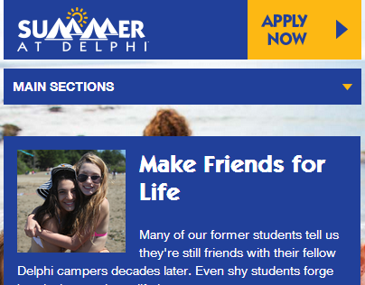 Delphi Summer Camp Responsive Website
