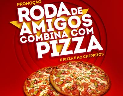 Campanha para promoção de pizza no dia do amigo.