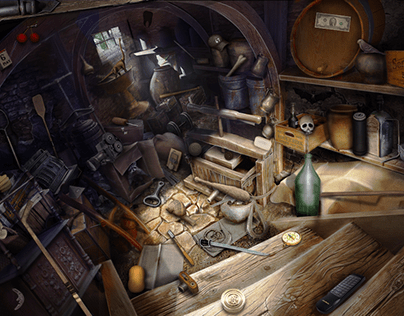 Hidden objects game scene