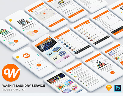 Wash It Laundry Service App UI Kit