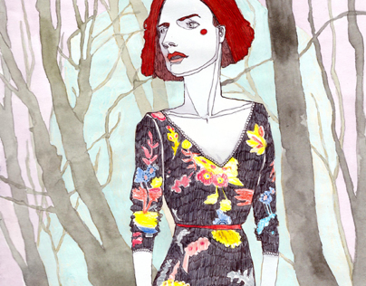 Ladies in the woods  illustrations