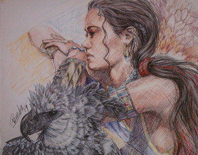 Girl with Harpy Eagle