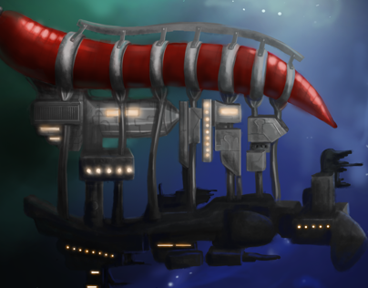 Spaceship carried by the worm