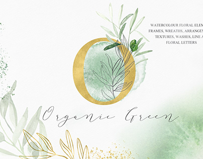 Organic Green & Olive Watercolor art Organic Green