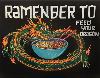 Feed your Dragon - WFM Chalk Illustration