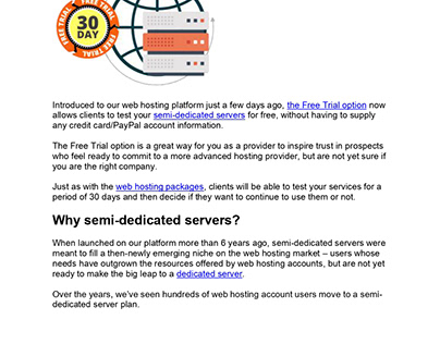 Semi-dedicated servers blog article (copywriting)
