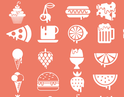dripping food icons collection