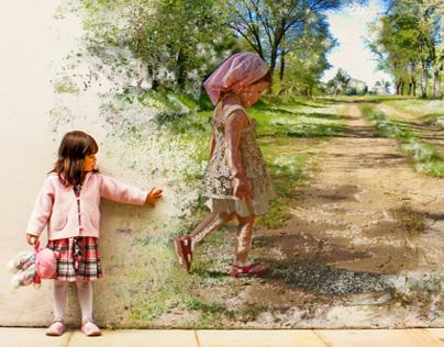 jeune fille et sa murale