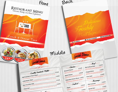 Restaurant Menu With Business Card Included