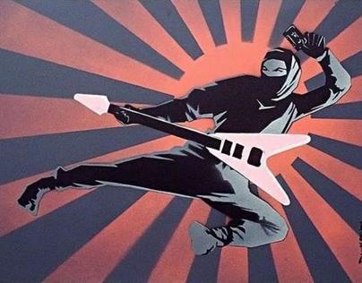 Flying V Ninja ( 5 layer spray paint stencil )