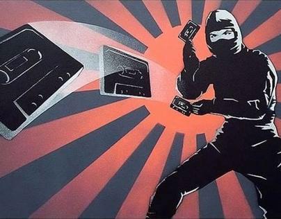 Mix Tape Ninja ( 4 layer spray paint stencil )