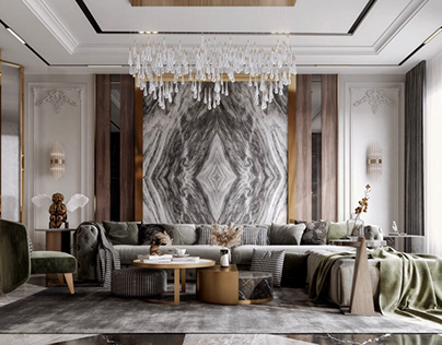 Luxurious Reception, Dining And Stairs Area Design.