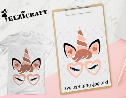 Valentine's Unicorn Face Design / SVG Cut File