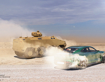 Porsche Taycan In Desert