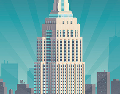 New York Retro Travel Poster City Illustration