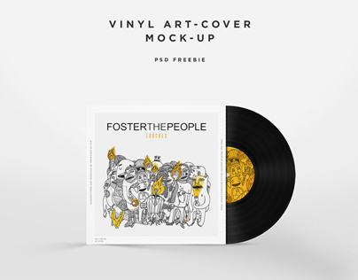 Vinyl Disc Cover Art Mock-up { PSD Freebie }