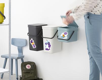 Стикеры для раздельного сбора мусора