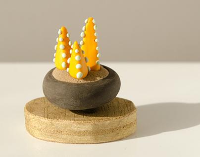 Plants miniature clay sculptures