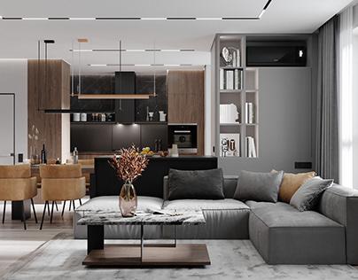 Warm grey& Orange Apartment