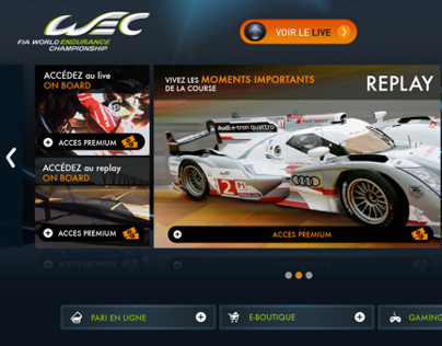 Streaming multicam app. for WEC live racing