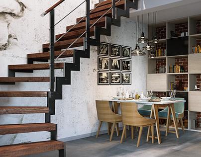 Living room and kitchen / Salon i kuchnia