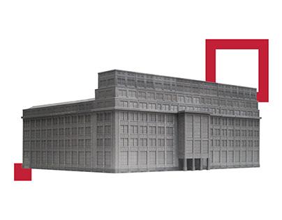 3D printed scale model of BGK building in Warsaw